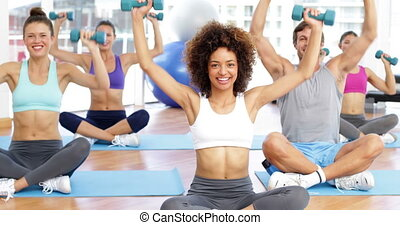 classe, séance, fitness, lotus pose