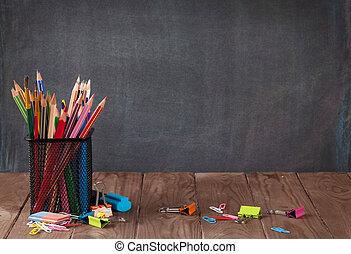 classe, table, école, fournitures bureau