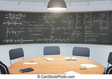 classe, tableau noir, moderne, équations, meubles