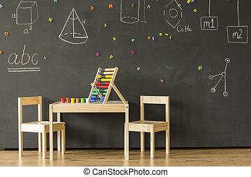 classe, tableau noir, peu, meubles