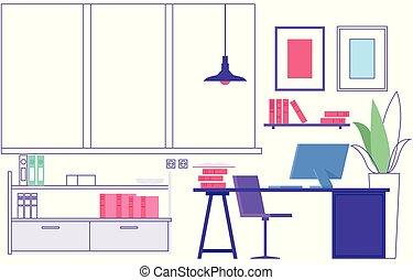 classe, vide, apprentissage, endroit, maison, workplace.,...