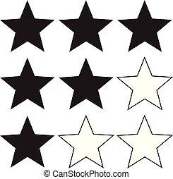 classement, élément, conception toile, arrière-plan., ui., ton, signe., icône, plat, style., niveau, symbole., app, site, blanc, étoile, logo, logo