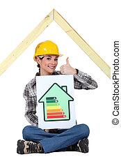 classement, énergie, housebuilder, femme, signe