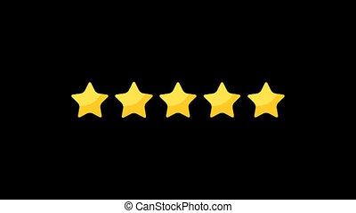 classement, étoile, version, 2, cinq, dessin animé