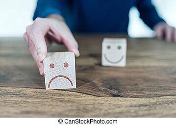classement, bois, réaction, blocs jouet, service clientèle, concept