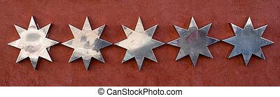 classement, concept, brun, arrière-plan., cinq, étoiles, argent