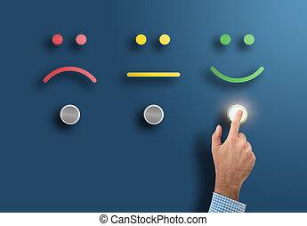 classement, concept, service, bouton, main, toucher, enquête, interface, face souriant