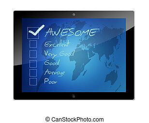 classement, concept, tablette