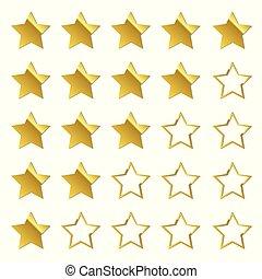 classement, ensemble, or, étoiles, réaction