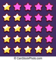 classement, espace, icônes, boutons, jeu, étoiles