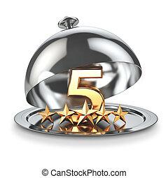 classement, hotel., concept, service, restaurant, cinq, étoiles, cloche., ou