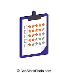 classement, isométrique, ou, presse-papiers, icône, plat, mobile, infographic., pictogramme, ui, symbole., app, toile, 3d, logo., conception, style