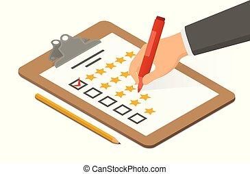 classement, isométrique, presse-papiers, highlighter, sur, illustration, main, vecteur, tenue, vide, accompagné, pencil.