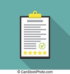classement, plat, presse-papiers, conception, étoiles, chèque