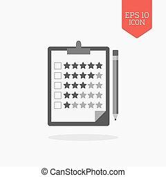 classement, presse-papiers, couleur crayon, signe., moderne, symbole., plat, gris, conception, toile, étoiles, ui, icon., concept., revue, navigation