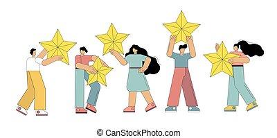 classement, satisfaction, reussite, points, revue, donner, soutien, étoile