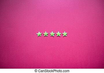 classement, service, réaction, étoiles, cinq, satisfaction, concept, blackboard.