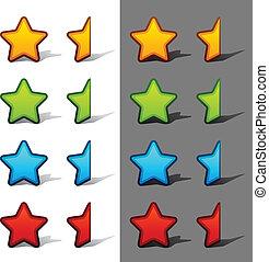 classement, vecteur, étoiles, moitié, ombre, entier