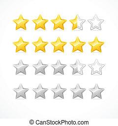 classement, vecteur, isolé, étoiles, white.