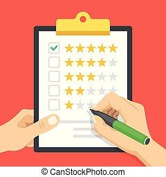 classement, vecteur, moderne, conception, qualité, chèque, concept., marque, presse-papiers, étoiles, plat, tenue, checkbox., illustration, main, cinq, client, contrôle, étoiles, vert, satisfaction., loyauté, stylo