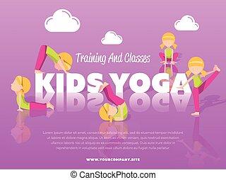 classes, bannière, formation, gosses, yoga