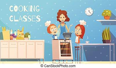 classes, vecteur, cuisine, illustration, enfants