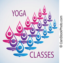 classes, yoga, fond, icône