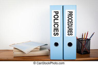classeurs, bois, étagère, bureau., procédures, papeterie, policies