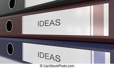 classeurs, idées, bureau, étiquettes