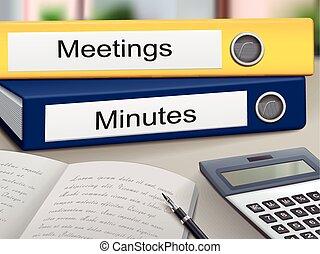 classeurs, réunions, minutes