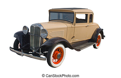 classic 1930s tan coupe with orange spoked wheels