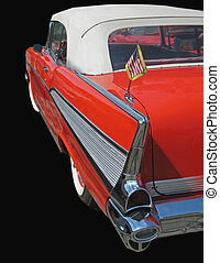 classic 1957 red convertable chevy car