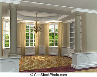 Classic 3D luxurious interior with hardwood floors and draped windows looking toward garden