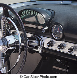 Classic 50's American Car close ups - close shots of a...