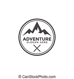 Classic adventure mountain logo icon design template