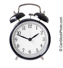 Classic alarm clock isolated on white with clipping path included