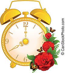 classic alarm clock on background