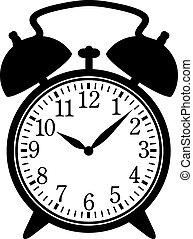 Classic alarm clock. Silhouette, black on white. EPS 8, AI,...