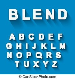 Classic alphabet with modern long shadow effect