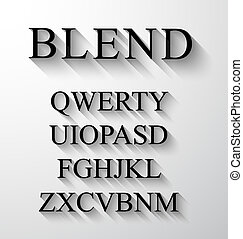 Classic alphabet with modern long shadow effect. Shadows has...