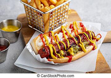 Classic american beef hot dog
