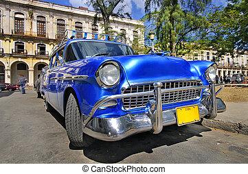 Classic american car in the street of havana - Blue classic...