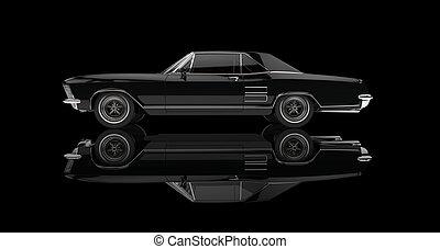 Classic American Car On Black