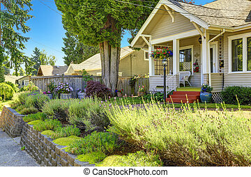 Classic american house exterior. Front yard landscape
