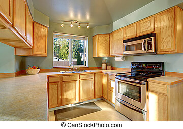 Classic American kitchen room interior with wooden cabinets