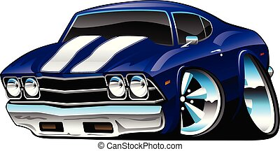 Classic American Muscle Car Cartoon, Deep Cobalt Blue,...