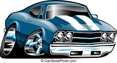 Classic American Muscle Car Cartoon Illustration. Blue with white stripes, lots of chrome, aggressive stance, low profile, big tires and rims. Hand-drawn and Illustrated by Jeff Hobrath.