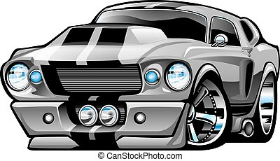 Classic American Muscle Car Cartoon Illustration, lots of chrome, aggressive stance, low profile, big tires and rims. Hand-drawn and Illustrated by Jeff Hobrath.