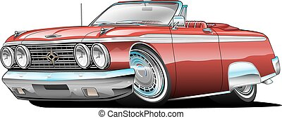 Classic American Muscle Car Cartoon Illustration, lots of chrome, convertible, aggressive stance, low profile, big tires and rims. Hand-drawn and Illustrated by Jeff Hobrath.