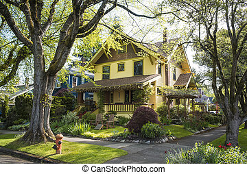 Classic American suburban house in springtime neighborhood...